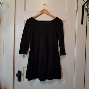 Simple Black Babydoll Dress with Back Cutout